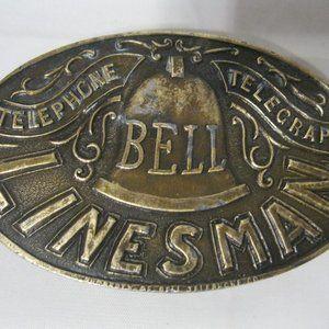 Bell Linesman Vintage Belt Buckle Indiana Metal